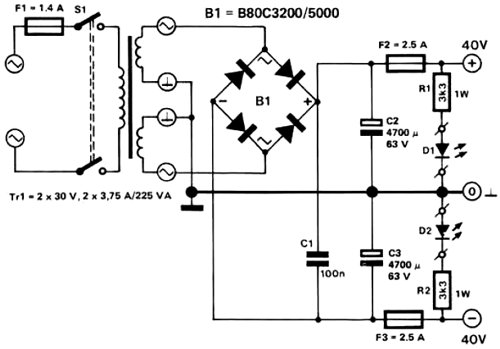 2x45V power supply circuit