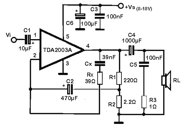 TDA2003Audio Amplifier Electronic Schematic