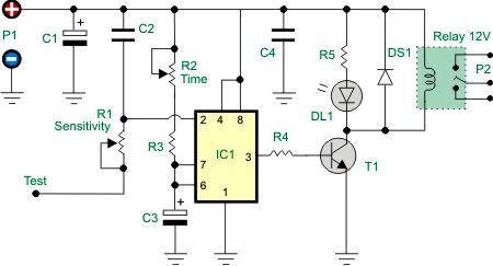 Touch activated relay - electronic schematic
