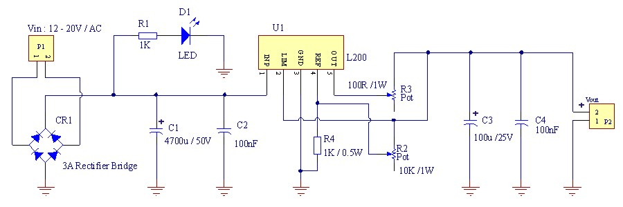 adjustable power supply with current limiting
