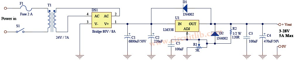 LM338 Power Supply - Electronic Schematic