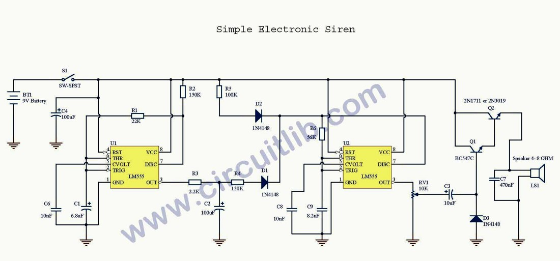 Low Cost Electronic Siren / Schematic