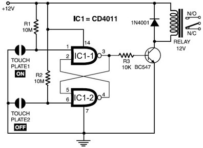 Simple touch-sensitive switch circuit
