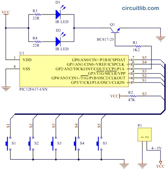 RC5 transmitter schematic