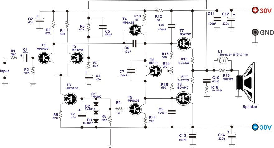 The electronic citcuit of the 30W audio amplifier