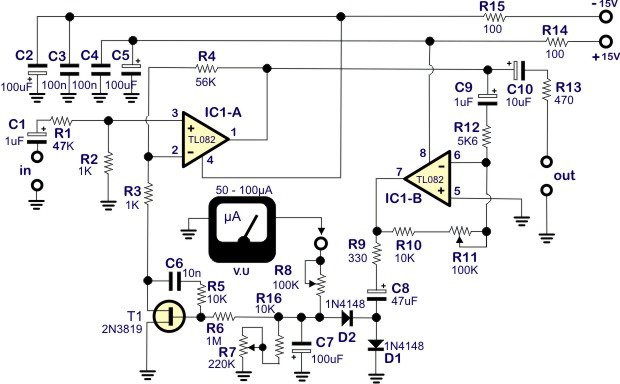 Simple Compressor - Limiter on audio clips, inverter schematics, relay schematics, audio mixer circuit, generator schematics, led schematics, audio circuit books, audio splitter circuit, audio amp schematic, audio circuit symbols, lm3914 schematics, radio schematics, audio circuit design,