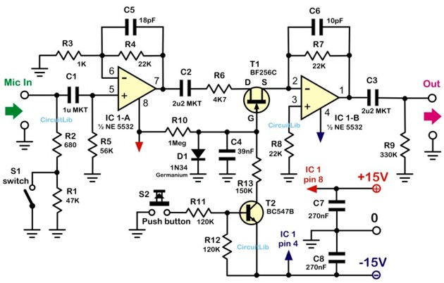 microphone preamplifier with mute