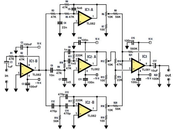 stereo tone control rh circuitlib com tone control circuit diagram with pcb simple tone control circuit diagram