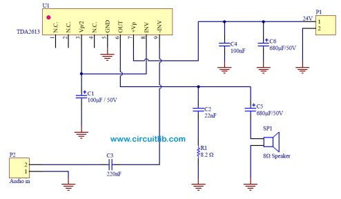 Audio Amplifier based on TDA2613
