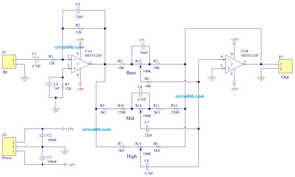 3 way tone control rh circuitlib com bass tone control circuit diagram audio tone control circuit diagram