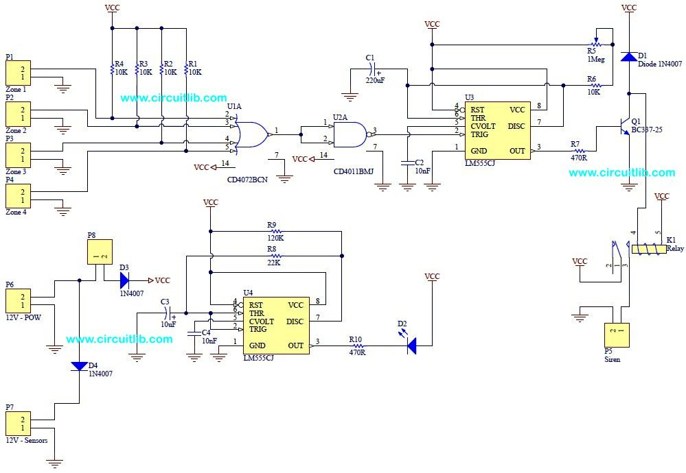 The electronic schematic of the basic alarm