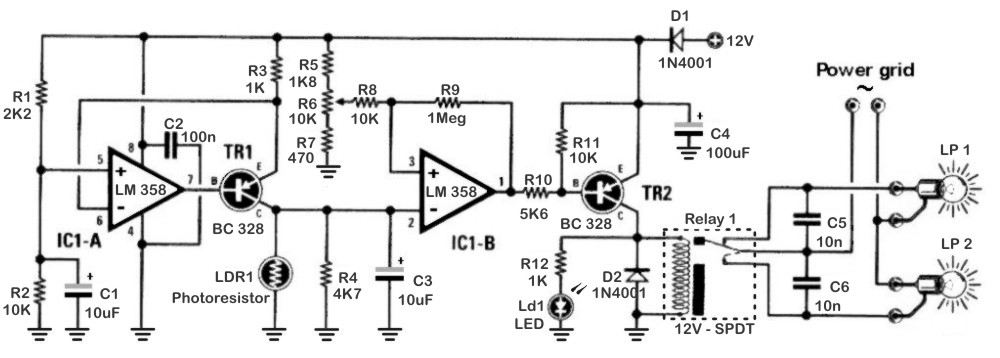 The electronic schematic of the Twilight switch