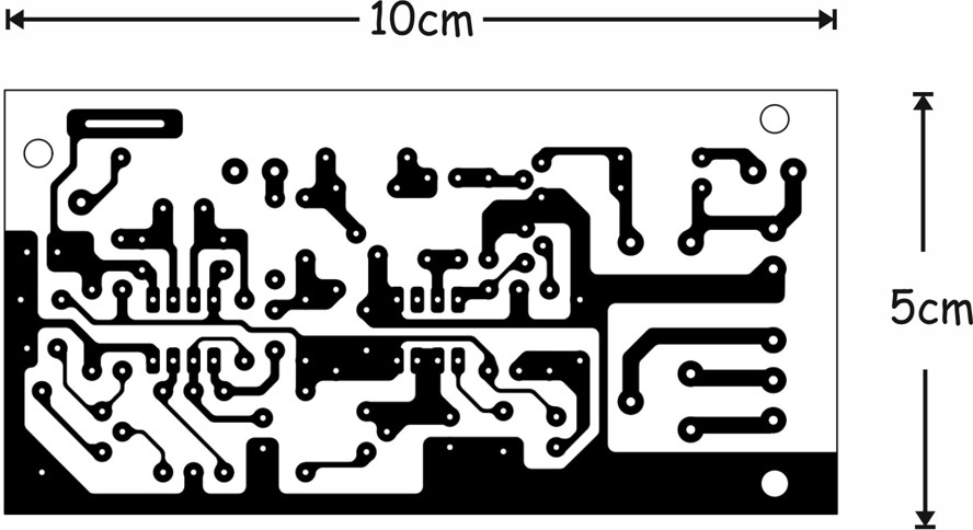 The solder side of the printed circuit board for the mechanical vibrations detector