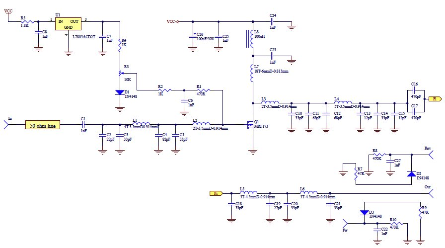 The electronic circuit of the 50W Broadband Amplifier with MRF173