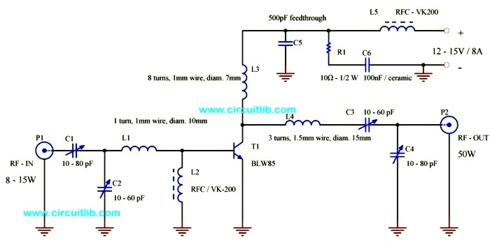 BLW85 FM linear amplifier circuit schematic