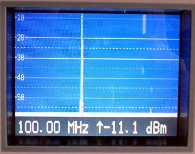 Measured spectrum (Fundamental @ 100MHz and second harmonic @ -50dbc)