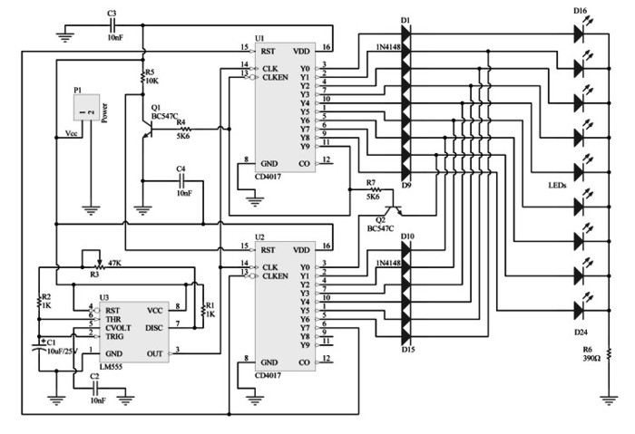 Knight Rider LEDs - electronic schematic