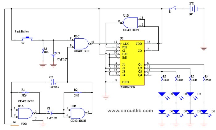 Electronic Die schematic
