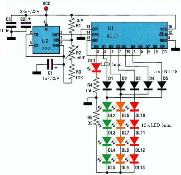 LED shapes flasher circuit schematic