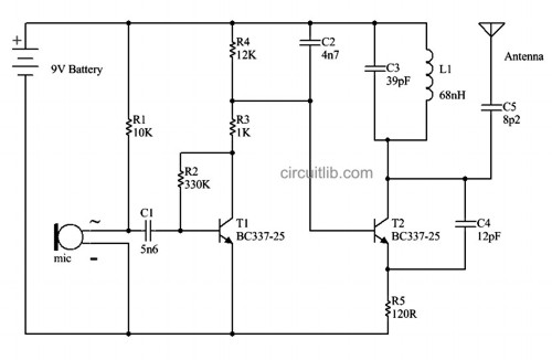 FM wireless microphone - The electronic schematic
