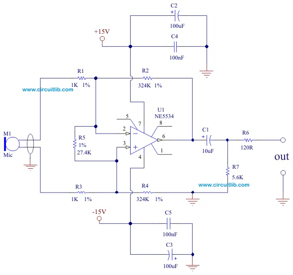 Balanced Microphone Preamplifier - Electronic Schematic