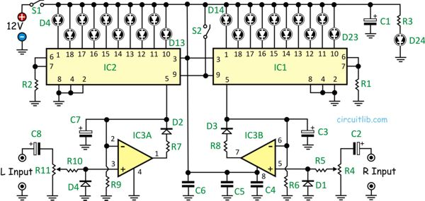 Amazing 10 Led Vu Meter Using Lm3915 Basic Electronics Wiring Diagram Wiring Cloud Hisonuggs Outletorg