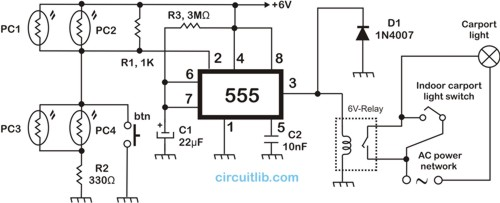 Carport light controller circuit
