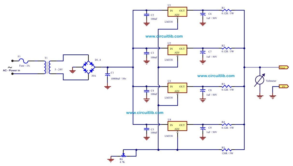 20A Power Supply Electronic Schematic