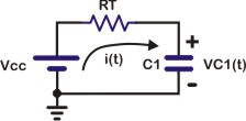 Equivalent circuit for charging capacitor C1 on Monostable mode
